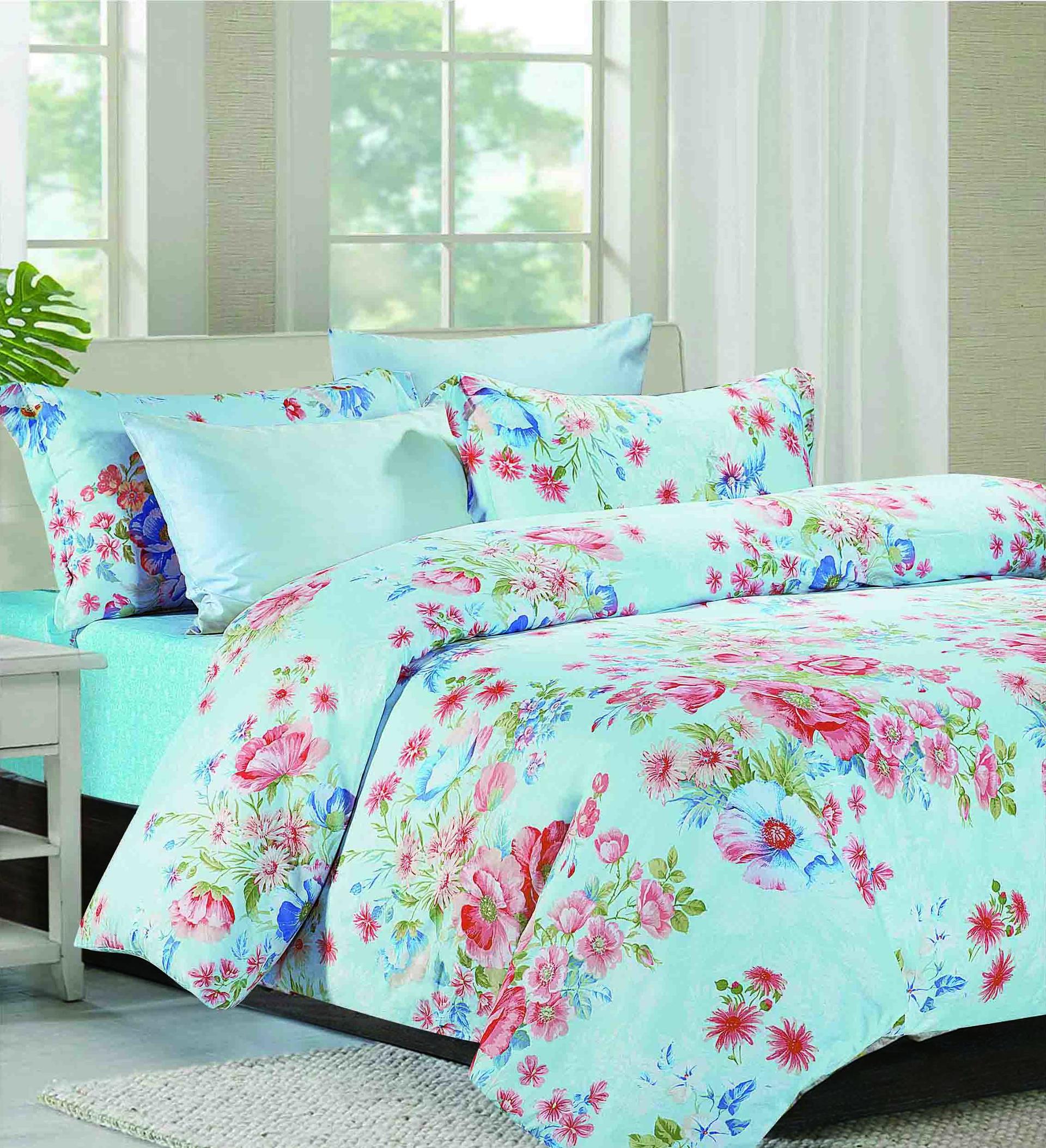 Vivid Floral Patterns Printed Bedding Set   161136