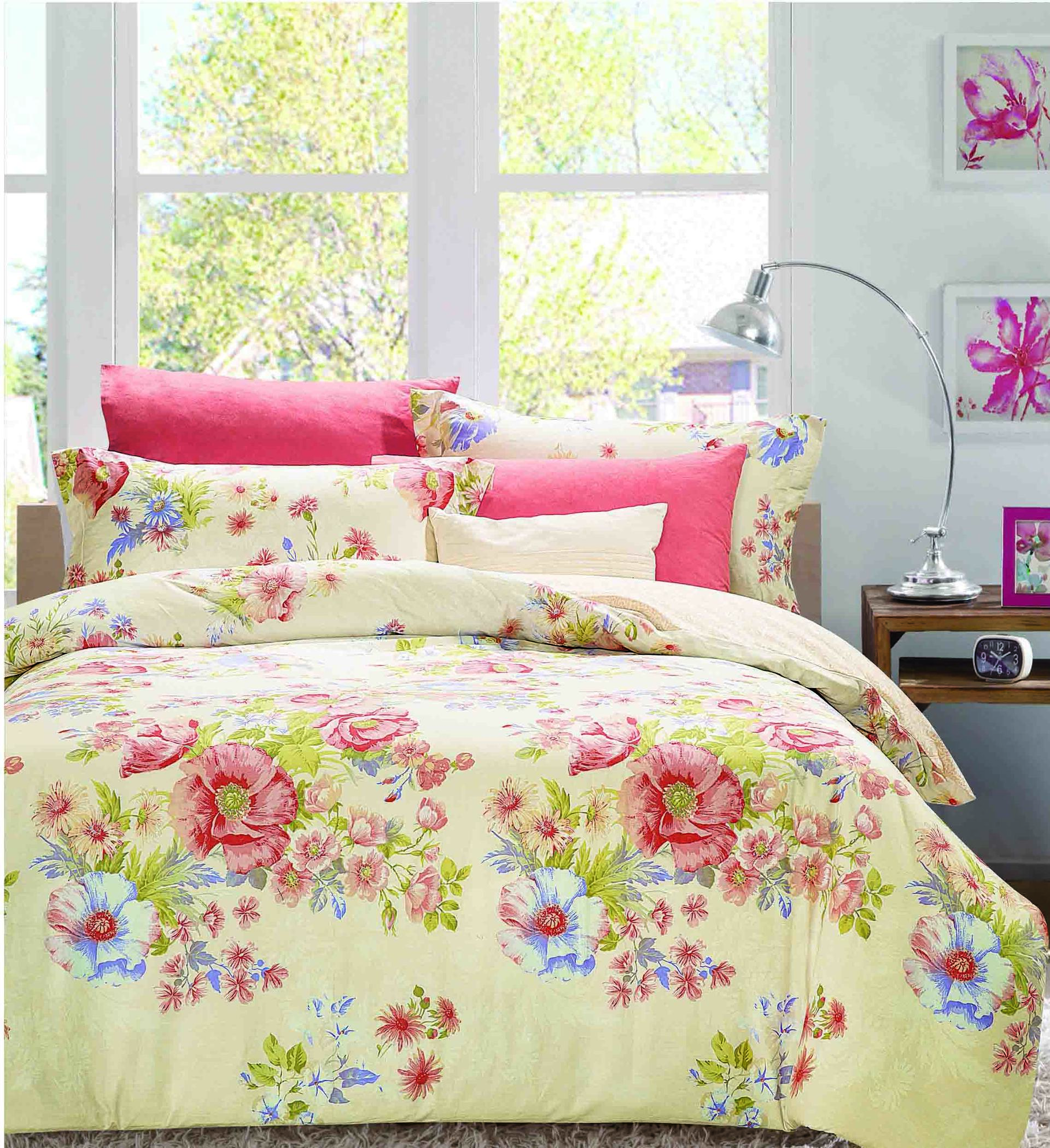 Vivid Floral Patterns Printed Bedding Set   161136