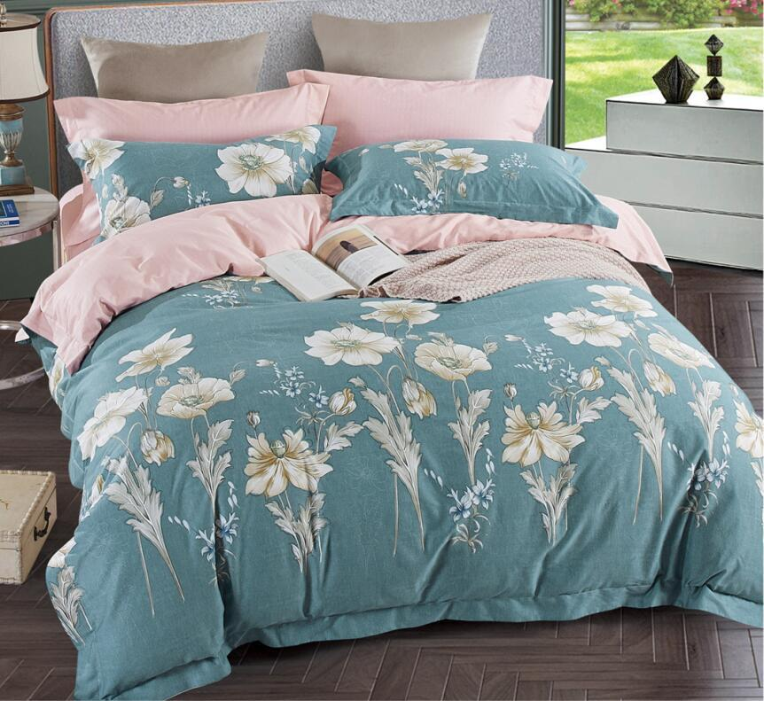 200 Thread Count 100% Cotton Printed Duvet Cover Set 4PCS