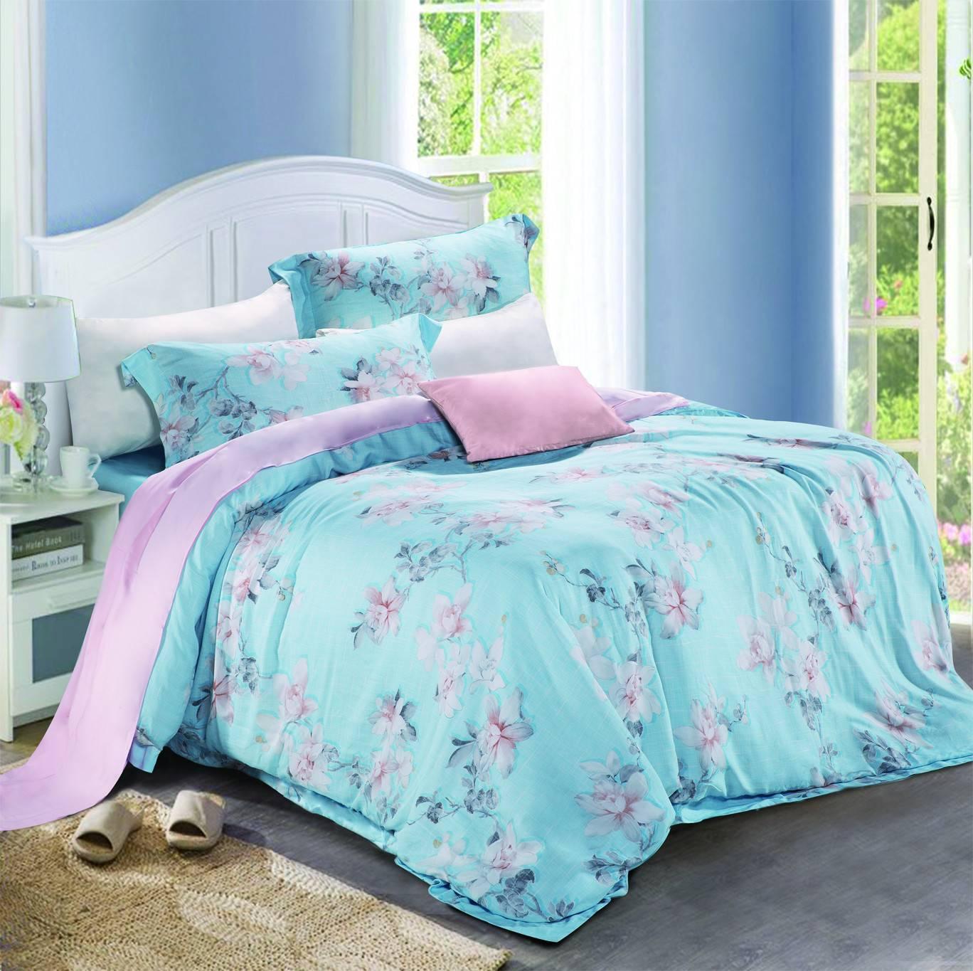 45% Cotton 45% Lyocell 10% Linen Floral Prints Bed Sheet Set   #6846