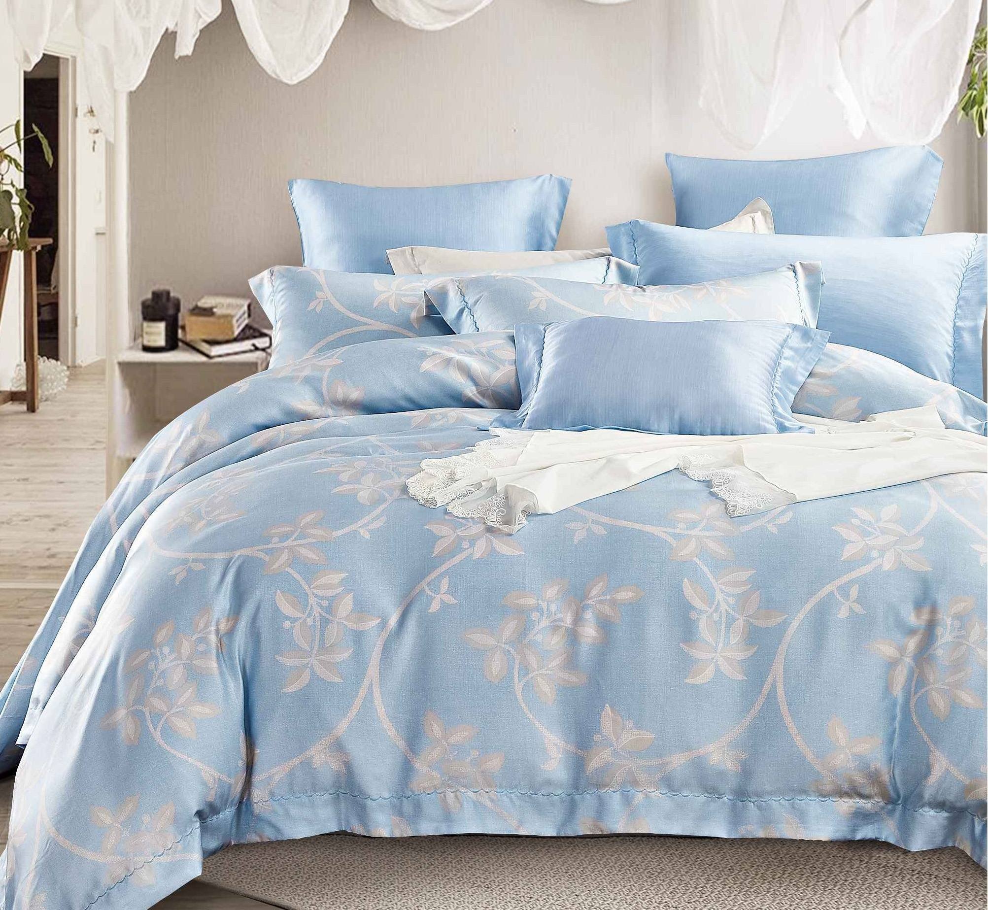 China Sky Blue Pattern Bedding Set Made Of Lyocell Excellent Quality Print Bed Linen With Long Warranty