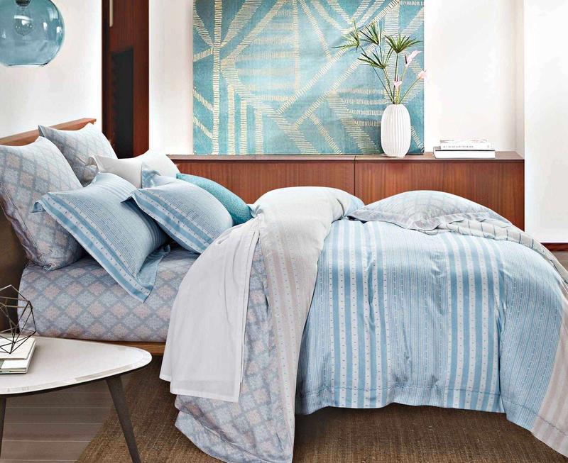 Comfortable Lyocell Stripes Sheet Set Duvet Cover Set