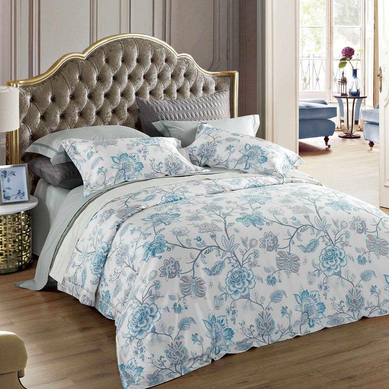 Blue Floral Pattern Printed Cotton Bedding Set
