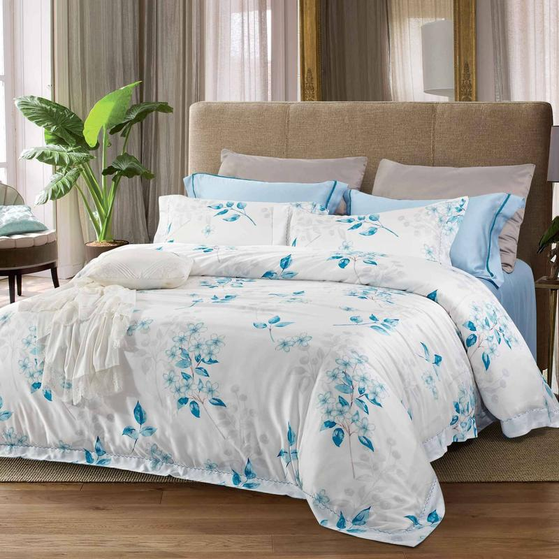 Fresh Plant Motif Sky Blue Bedding Set 171076