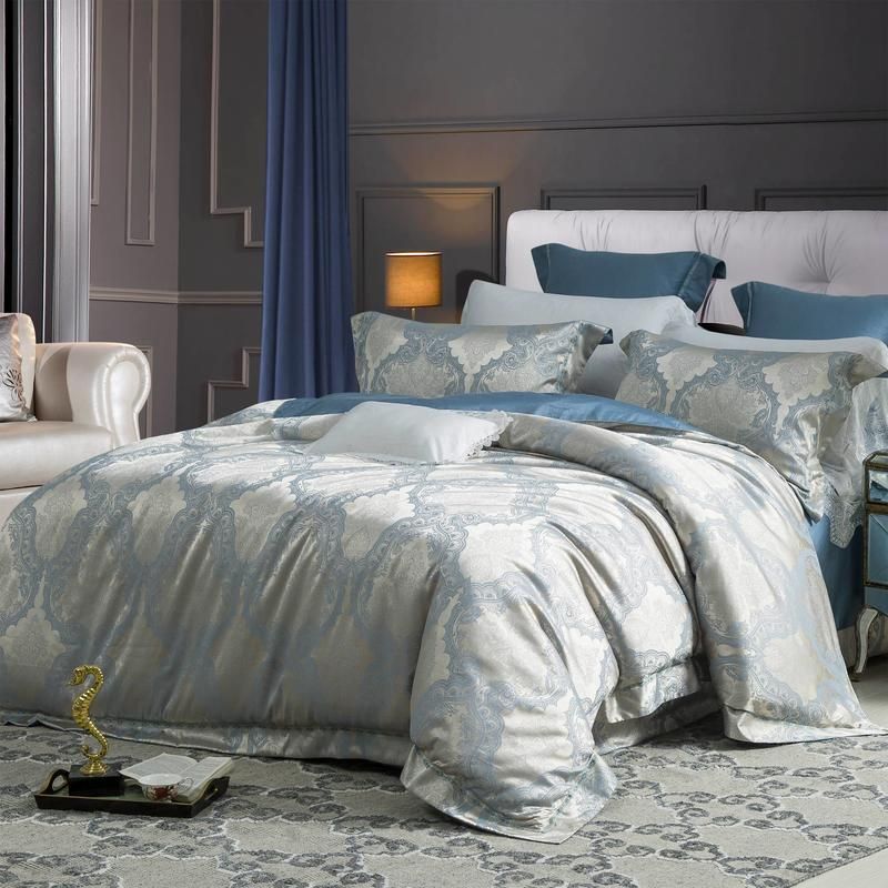 Silky Texture Polyester & Viscose Blend Jacquard Bedding Set 6985