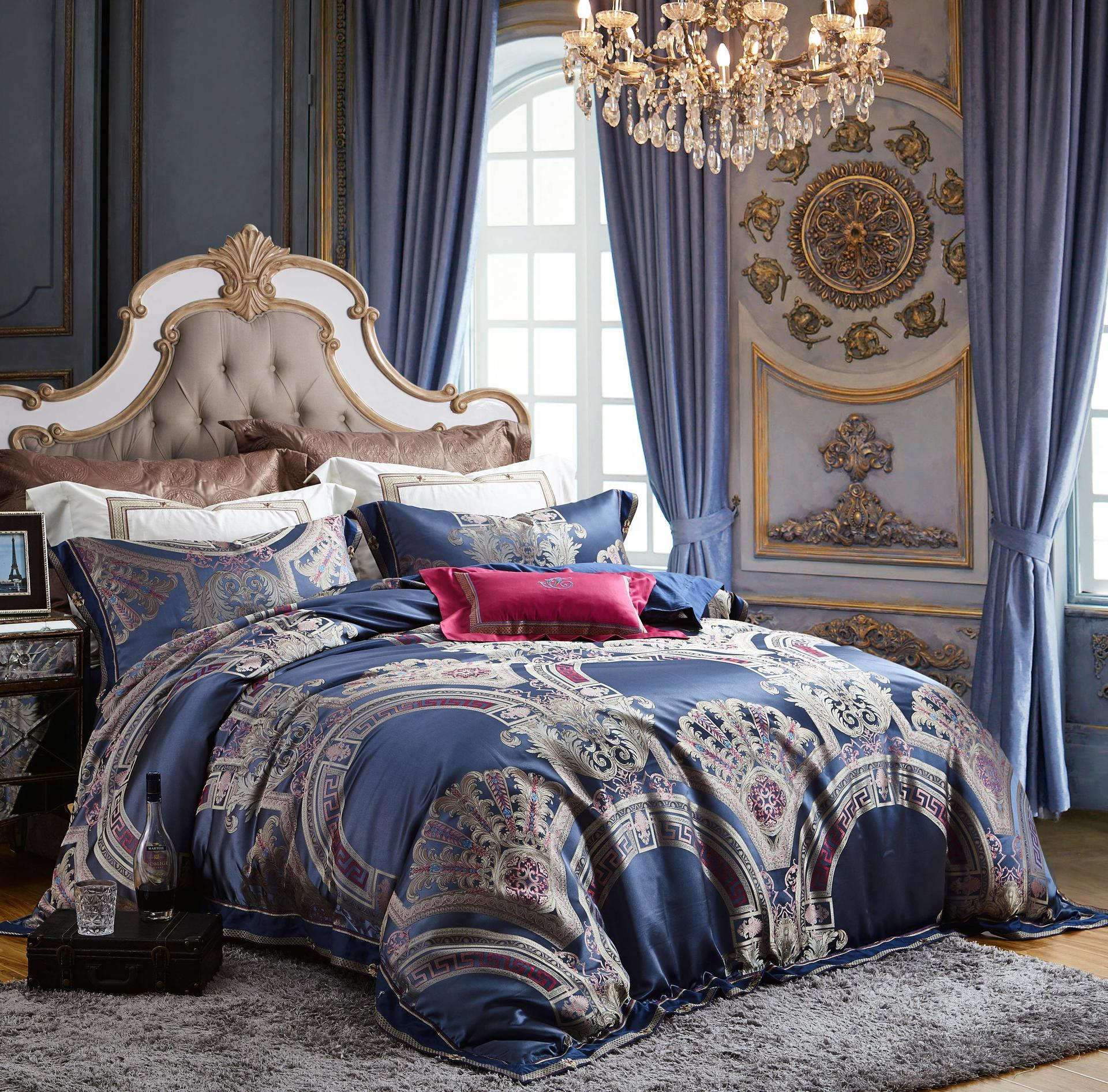 High Density Yarn-dyed Jacquard Polyester Bedding Set with Embroidery